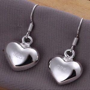 925 STAMPED STERLING SILVER HEART DANGLE EARRINGS